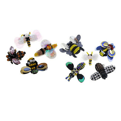 9pcs/Set Handmade Bee Dragonfly Sequins Rhinestones Patches Appliques Decor