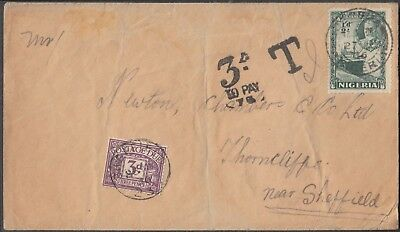NIGERIA 1936 G VI ½d ON SCARCE TAXED 3d WITH GB POSTAGE DUE STAMP.
