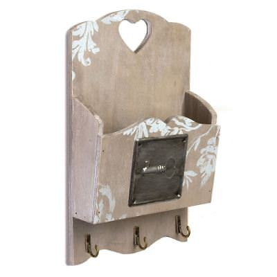 Wooden Embossed Key Wall Tidy Letter Rack with 3 Hooks Shabby Chic Appearance