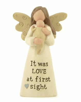 Winged Angel Holding Baby Figurine - It Was Love At First Sight Message