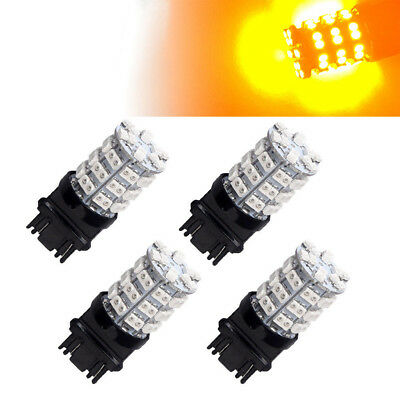 4x Amber Yellow 3157 60-SMD LED Light Bulbs For Car Turn Signal 3057 3457 4157