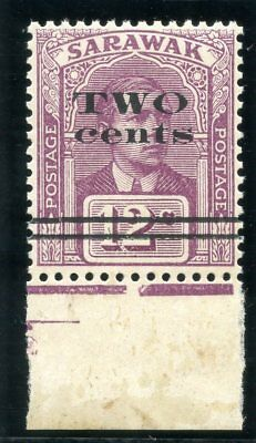 "Sarawak 1923 KGV 2c on 12c purple (narrow ""W"" in ""TWO"") superb MNH. SG 73a."