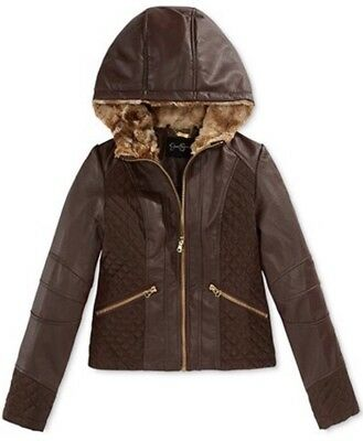 Jessica Simpson Girls Size M 10/12 Brown Faux Leather Hooded Jacket