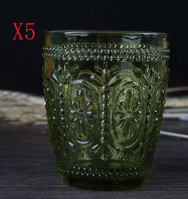 New 5X Capacity 300ML Height 100MM Retro Creative Green Wine Glass/Glassware %