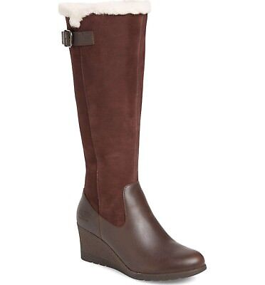 f2a1753da64 UGG BOOTS UGGS Mischa Tall Leather Waterproof Shearling Wedge Stout Brown  7.5