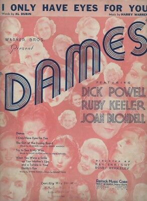 1934 I Only Have Eyes For You Dubin Dick Powell Dames Rare Original Sheet Music