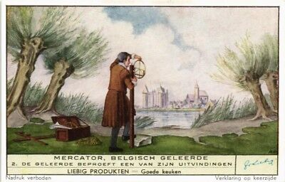 Collectible Advertising Liebig Card Mercator Belgian Scholar Trying Invention