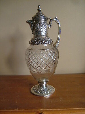Impressive, Antique Victorian English Sterling Silver Cut Glass Claret Wine Jug