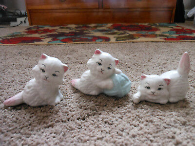 3 Vintage Glazed Ceramic Cat Figurines, Cats Playing And Sitting. Old Pieces