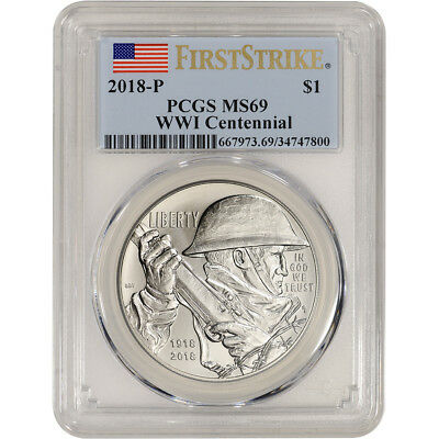 2018-P US World War I Commemorative BU Silver Dollar - PCGS MS69 First Strike