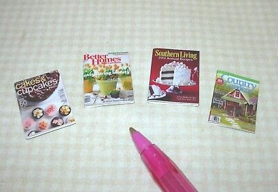 SET #17 Miniature Magazines 4 NO PAGES  DOLLHOUSE 1:12 Scale Various Titles