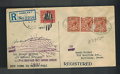 1931 London England to USA Hubert Wilkins Submarine North Pole Expedition Cover