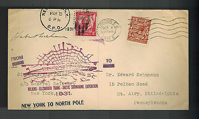 1931 London England to USA Cover Hubert Wilkins Submarine North Pole Expedition