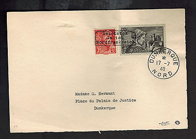 1940 Dunkirk Nord France Cover Front Local Issue German Cancel