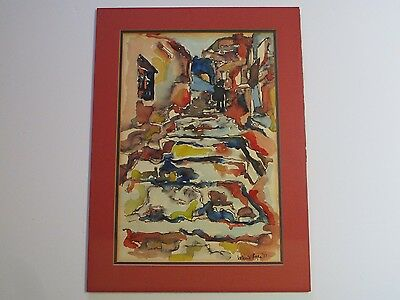 Mid Century Modern Abstract Street Scene Architectural Modernism Expressionism