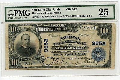 1902 $10 (Fr#626) (Plain Back) Salt Lake City, Utah National Note. VF 25 PMG
