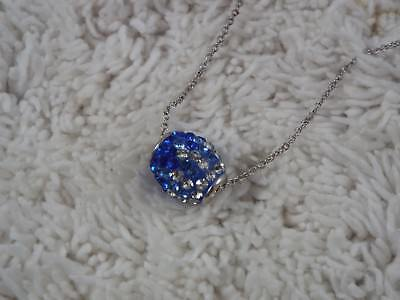 Sterling Silver Plated Blue Rhinestone Bead Pendant Necklace (C72)