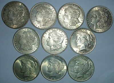 Ten Silver Dollars (6) 1921 Morgans, (1) 1922, (2) 1925, (1) 1934-D Peace
