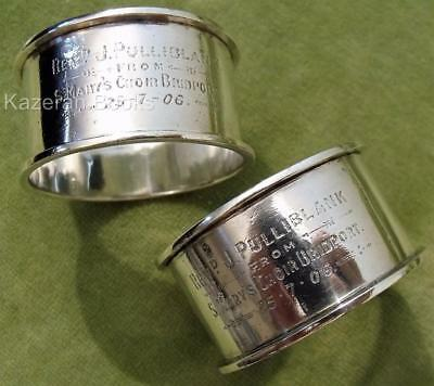 Pair Solid Silver Napkin Ring Army Chaplain Rev Pulliblank Bridport Choir 1906