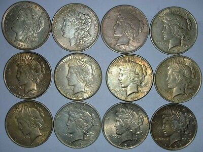 12 Silver Dollars (2) 1921 Morgan (3) 1922 (2) 1922-S (2) 1923 (1) 1923-D Peace