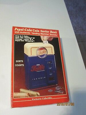 Vintage Pepsi-Cola Retro Vending Machine COIN SORTING Bank w/Red Box