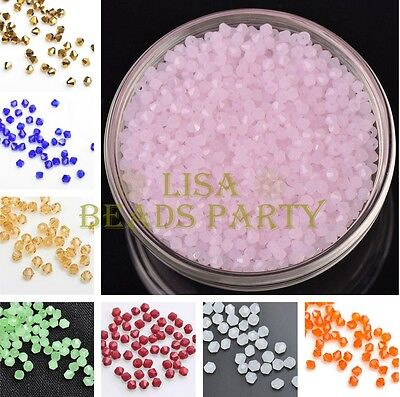 Lot Wholesale 200~1000pcs 3mm Bicone Faceted Charms Loose Spacer Glass Beads
