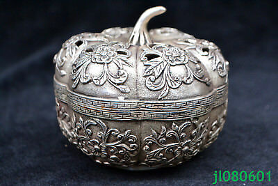 chinese old Antique tibet silver carve flower hollow out Statue incense burner 1