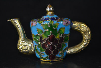 Collectible Old cloisonne Chinese Vintage dragon Statue Teapot Noble little