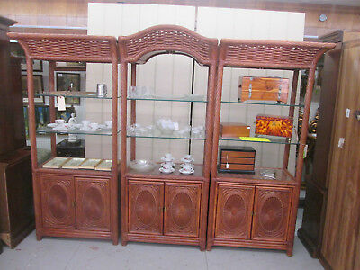 52179 Tommy Bahama?? 3 section Lighted Rattan Wicker Wall Unit Bookcase