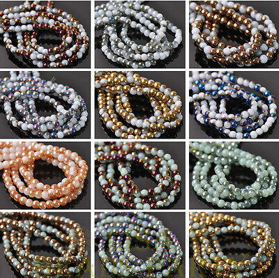 Wholesale 100~1000pcs 4mm Round Glass Loose Spacer Colorized Bead Jewelry Making