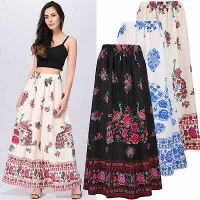 Women Boho Maxi Skirt Dress Floral Holiday Summer High Waist Long Skirt Sundress