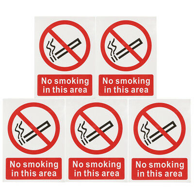5pcs No Smoking Signs Business Window Taxi Stickers Safety Vinyl Decal 150x200mm