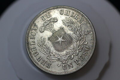 Chile Peso 1875 Silver Lovely Details A88 #pk7877