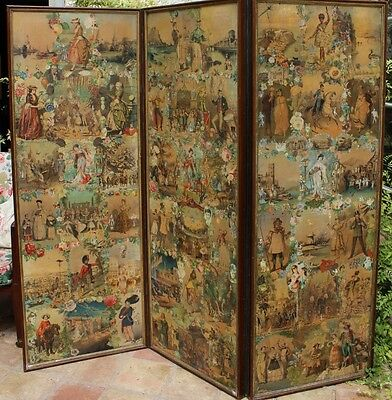 Victorian Three Panel Scrap Screen c1870