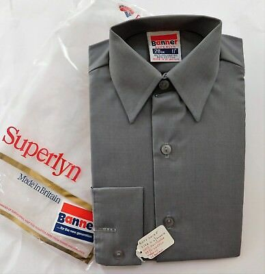 Childrens primary school uniform shirts Vintage 1970s Banner UNUSED grey boys