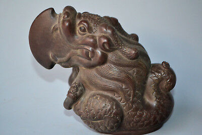 chinese Yixing purple sand Collectible Old Kylin handwork wonder statue