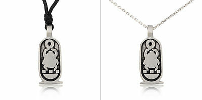 Egyptian Scarab Beetle Silver Pewter Charm Necklace Pendant Jewelry