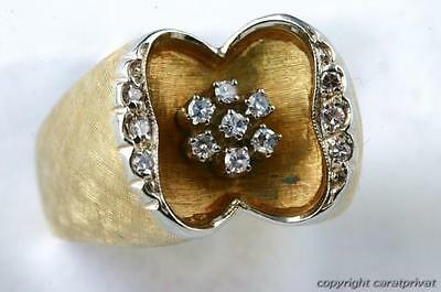 Diamant Brillant Ring antik in aus 750 er Gelbgold mit Brillianten Brillanten