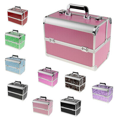 Aluminum Makeup Case Cosmetic Artist Train Travel Storage Carry Box w/ Lock