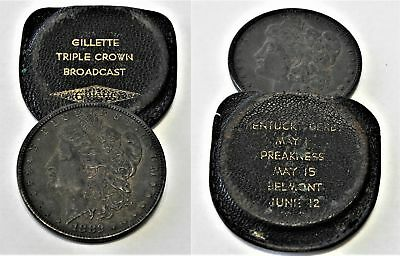 Rare Vtg 1950 s Gillette Triple Crown Leather Coin Pouch & Org 1882 Morgan $1