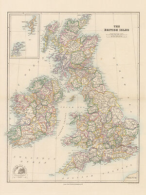 Stanfords Folio British Isles Map - 1884 - Ready Framed Canvas