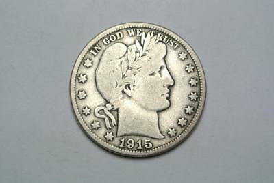 1915-D Barber Half Dollar, VG+ Condition - C5414