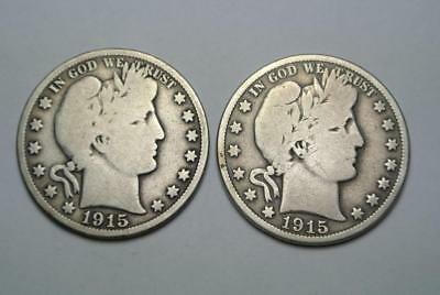 1915-D & 1915-S Barber Half Dollars, Good Condition - C5413