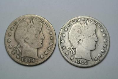 1914-S & 1915-S Barber Half Dollars, Good Condition - C5412