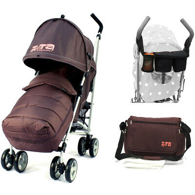 Baby Stroller Zeta Vooom - Hot Chocolate With Free XXL Large Padded Footmuff Pus