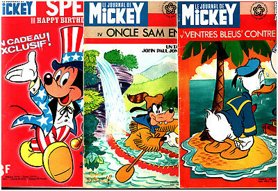 LOT LE JOURNAL DE MICKEY n°1256-1257-1258 ¤ 1976 SPECIAL INDEPENDANCE DAY USA