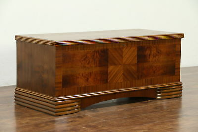 Art Deco 1930's Vintage Walnut Bench or Cedar Lined Chest, Dillingham of WI