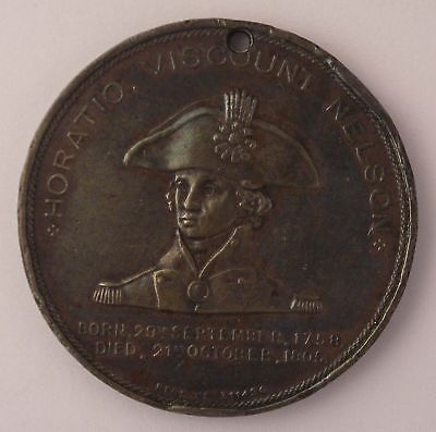 Copper Medal struck LORD NELSON Flagship 1798 1898