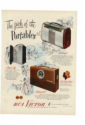 Vintage 1947 Rca Victor Transistor Radio Weatherize Rechargeable Pocket Ad Print