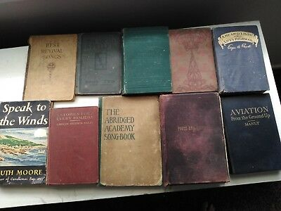 Lot of 11 Antique Books mixed, Ro inso. Crusoe, aviation, piets and pietey
